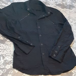 Vintage Guess Zipper Breast pockets button down M